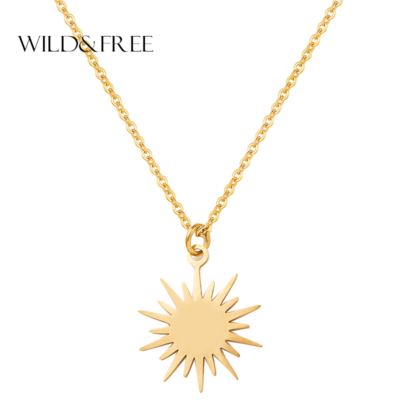 Wild&Free Women Sun Pendant Chain Necklace Jewelry Gold Stainless Steel Irregular Disc Charming Necklaces Party Gift