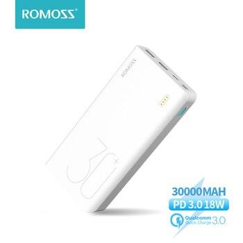30000 mah romoss sense 8 + power bank bateria externa portátil com pd em dois sentidos carregamento rápido portátil powerbank carregador para telefone