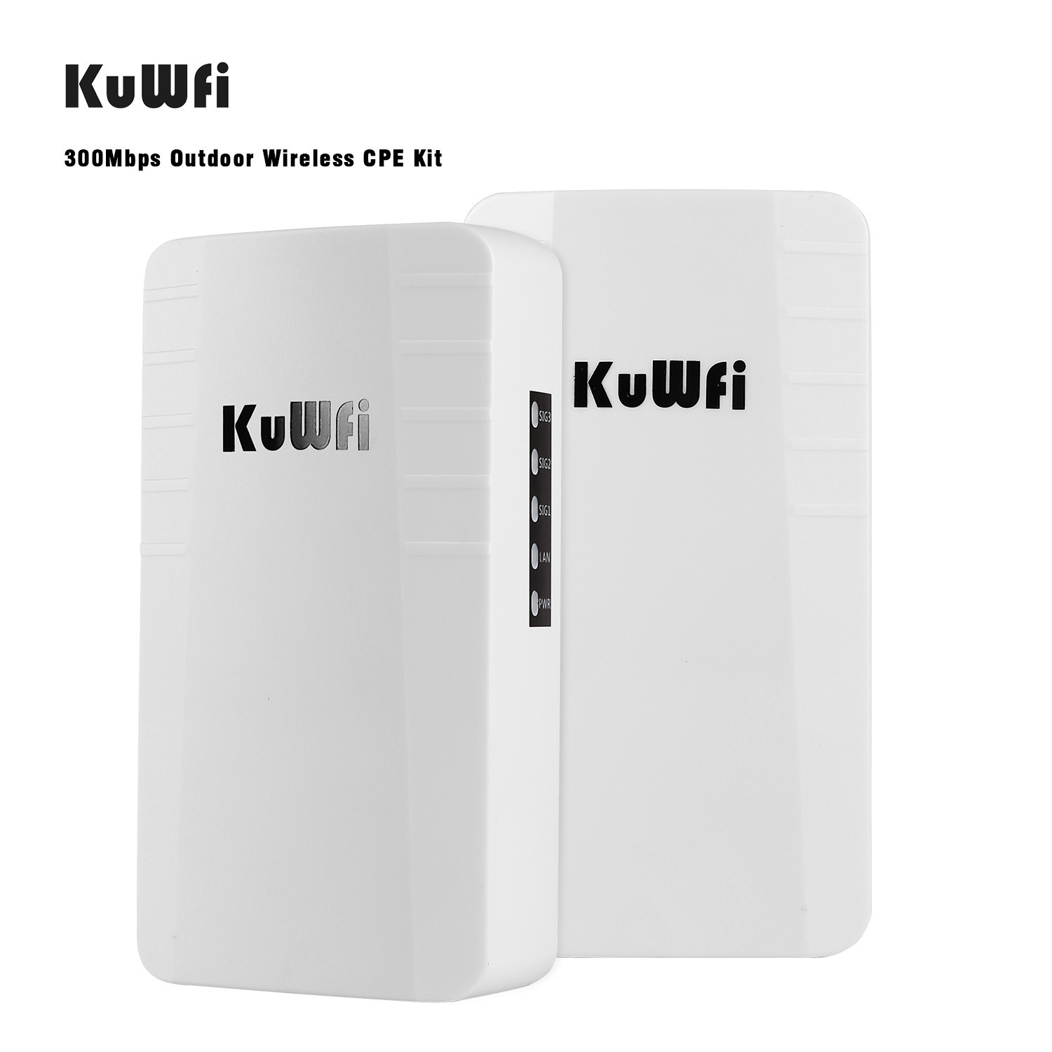 KuWFi Outdoor Router 2-Pack 2.4Ghz 300Mbps Wifi Repeater Point To PointWireless Bridge With RJ45 For Security Monitoring Outdoor