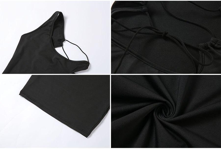 Summer Black Sexy Hollow One Shoulder Y2K Mini Dress Women Sleeveless Backless Bandage Party Clubwear Beach Slim Dresses 2021New 6