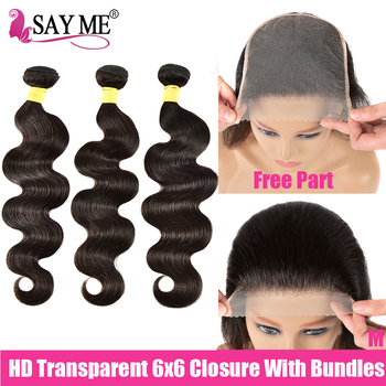6X6 Hd Transparent Closure And Bundles Peruvian Body Wave 3 Bundles With Closure Remy Human Hair Weave Bundles With Closure