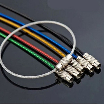 10 db színes EDC kulcstartó rozsdamentes acél karabiner kulcstartó kültéri szerszámok drót kulcstartók kábelkötél csavaros reteszelés