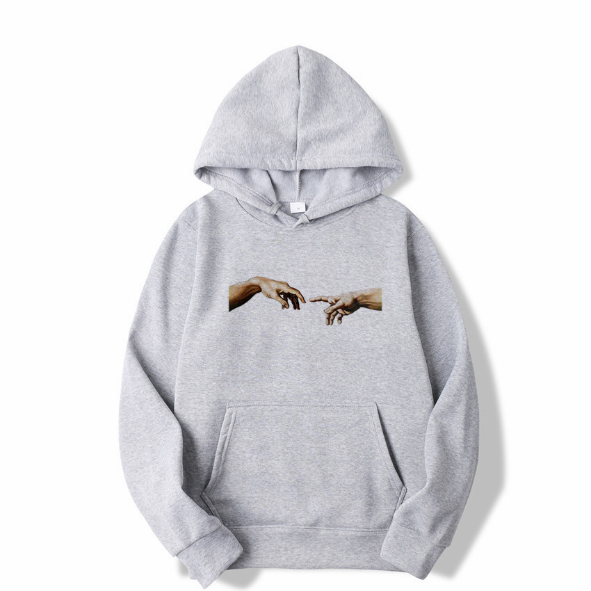 Printed Hoodie Finger Touch Couple Lover's Tops Sweatshirts Cool Hip-hop Boys Eye-catching Hoodies Leisure Pullovers Winter Wear