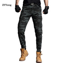 ZYYong Men #8217 s Overalls Tough Guy Trendy Casual Feet Multi-Pocket Military Tactical Pants Freight Trousers Men #8217 s Camo Jogger cheap Cargo Pants Flat COTTON Pockets REGULAR Full Length ZY115 Midweight Broadcloth Zipper Fly Four Seasons Slightly elastic
