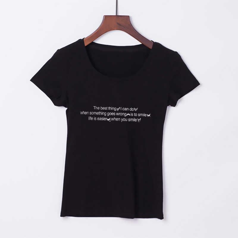 Забавная летняя футболка для женщин Новое поступление лучшая улыбка Цитата Harajuku принт короткий рукав футболка плюс размер Эстетическая футболка