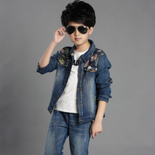 2019 Autumn fashion children boy clothes sets kids boys Jeans Coat+pants 2 pcs clothing for 6 12 15 Years
