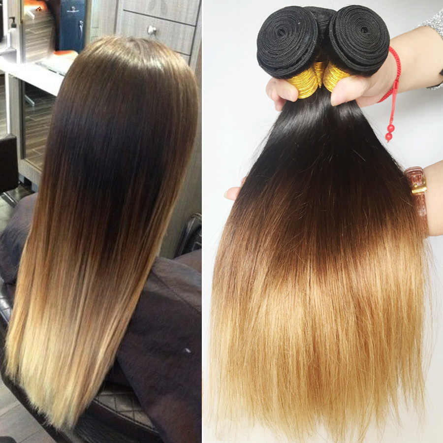 Ombre Straight Hair Bundles Brazilian Hair Weave Bundles Honey Blonde 1b/4/27 Remy Ombre Human Hair Extensions Medium Ratio