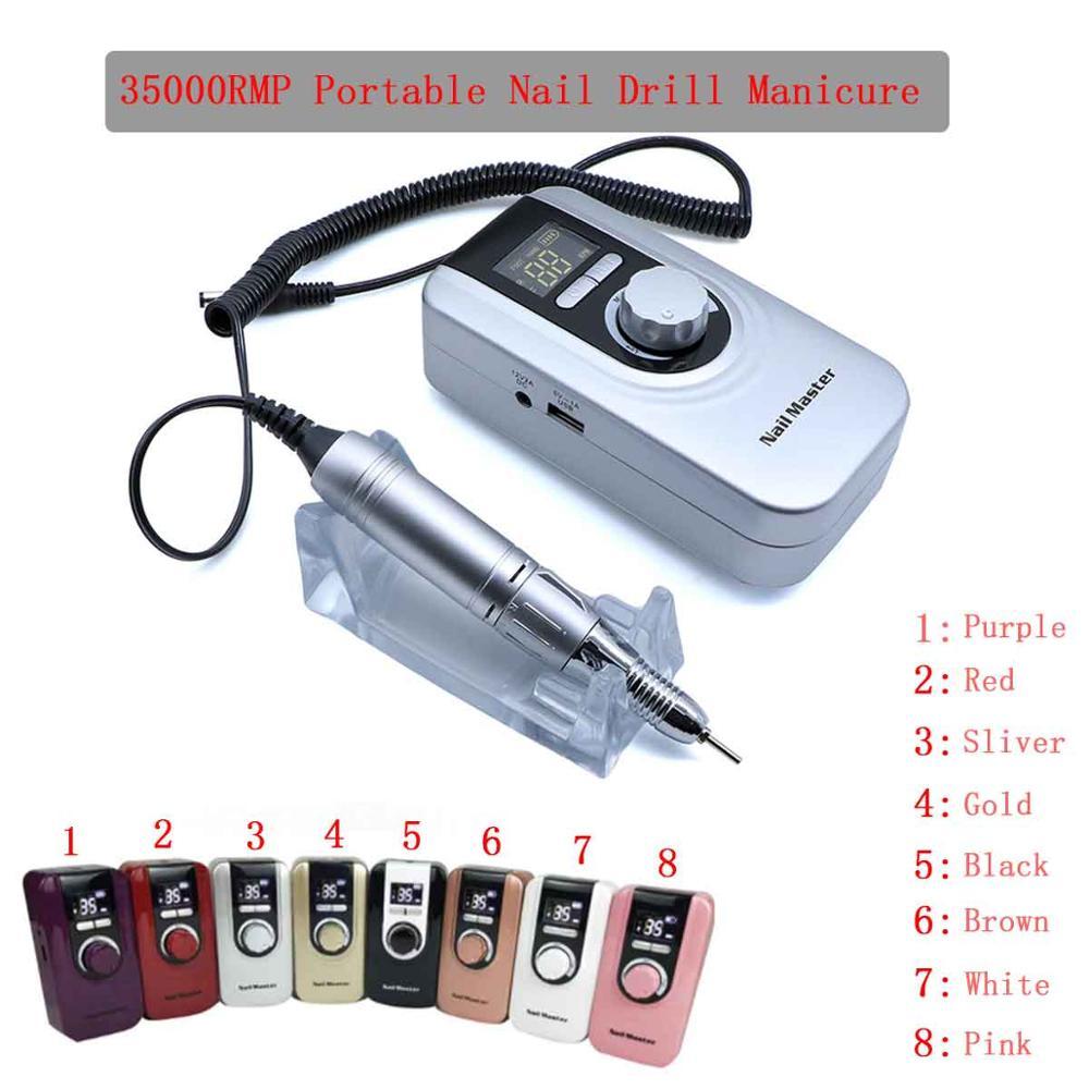 35000RMP Portable Nail Drill Manicure Set File Nail Pen Machine Set Kit With EU Plug Battery Portable Nail Grinding Machine