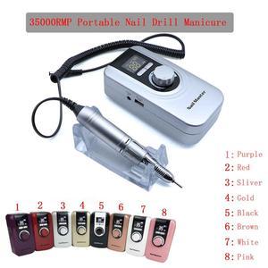 Image 1 - Kit de manucure, perceuse à ongles Portable, stylo, lime, Machine à ongles avec batterie, prise EU, broyeur à ongles Portable, 35000RMP