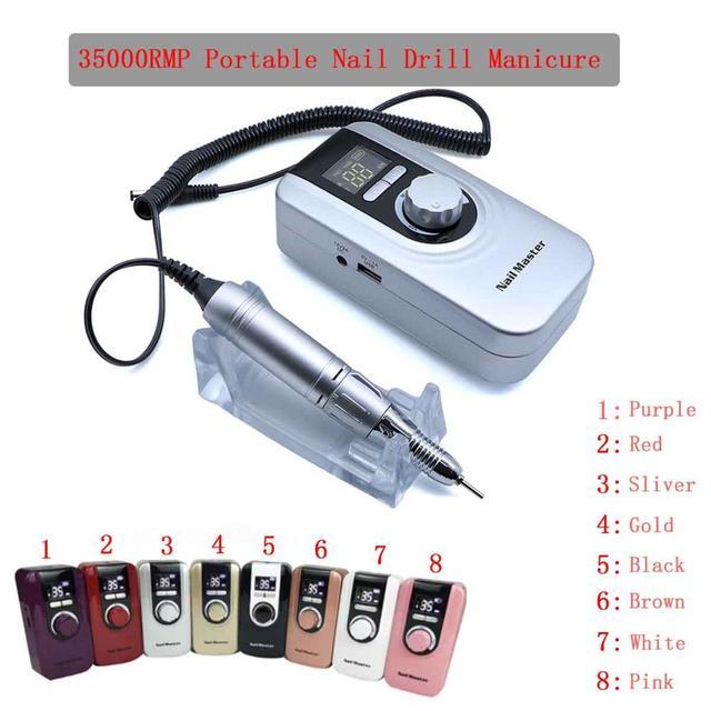 Kit de manucure, perceuse à ongles Portable, stylo, lime, Machine à ongles avec batterie, prise EU, broyeur à ongles Portable, 35000RMP