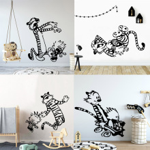 Cartoon Style tiger Wall Sticker vinyl  Kids Room Decoration childrens bedroom wall decal art mural HJ1326 cartoon chemist man wall sticker decal chemist sticker home bedroom decoration a00353