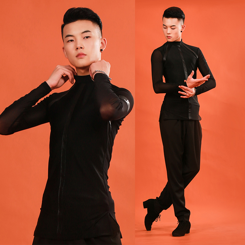 High Quality Men Standard Ballroom Latin Dance Tops Sale Cha Cha Rumba High Collar Long Sleeves Shirt Male Stage Wear DL5695