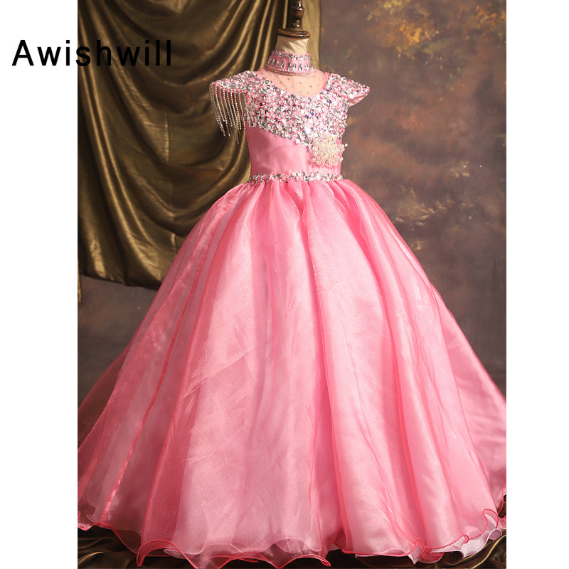 New Pink Pageant Dress Kids Prom Party Dress With Sleeves High Neck Beadings Organza Long Flower Girl Dress  Communion Dress