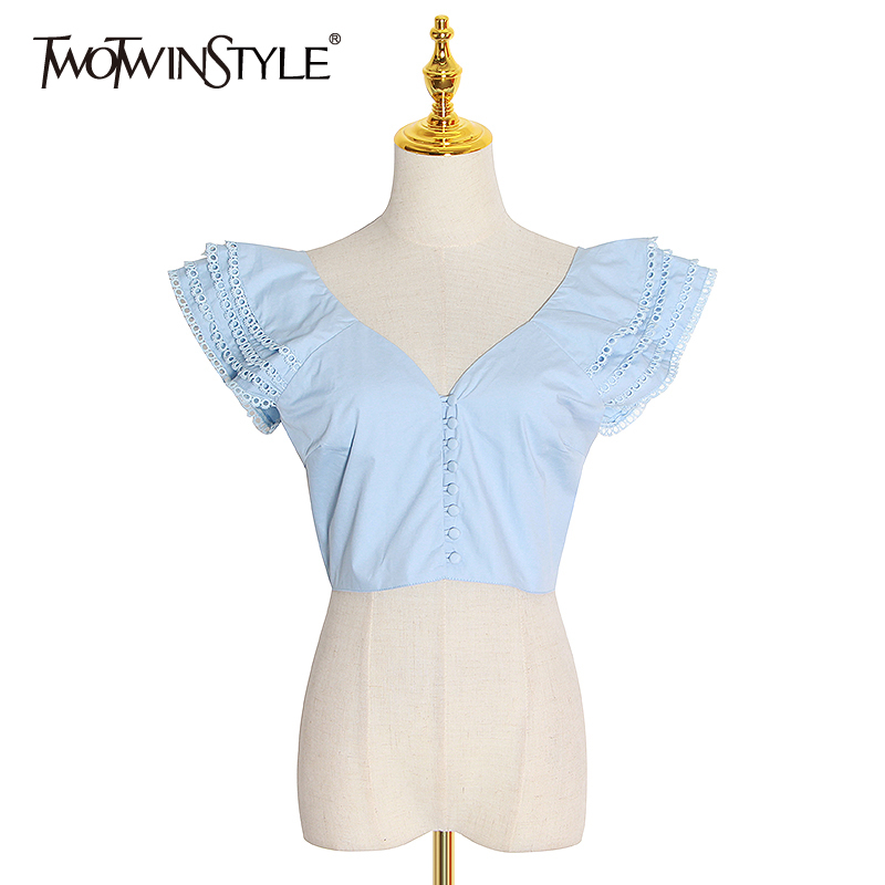 TWOTWINSTYLE Patchwork Ruffle Women's T Shirt V Neck Short Sleeve Hollow Out Shirt Blouse Female 2020 Spring Fashion Clothing