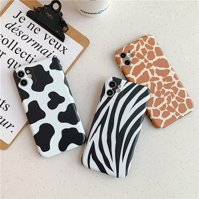Leopard Print Pattern Cow Phone Case For iPhone 11 12Pro X XR XS Max 8 7 Plus SE 2020 Lens Camera Protection Soft IMD Back Cover 3