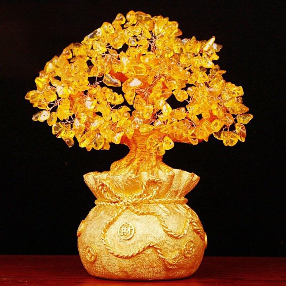 Crystal Money Tree Figurine Natural Citrine Bring Wealth Luck Creative Porch Office Crafts Birthday Home Decoration Sculptures
