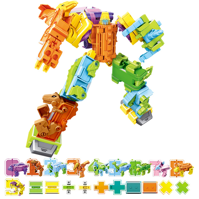 Transform Number Robot Action Figure Dinosaurs Children Toy Blocks Assemble Deformed Toys for Boys 6 to 10 Years Educational 1