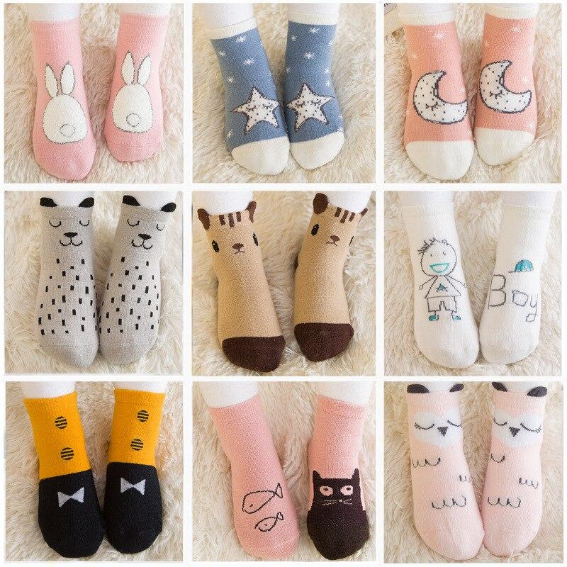 1 Pair 0-4Y Cartoon Animal Print Baby Socks Anti Slip Spring Autumn Kids Boys Girls Socks With Rubble Sole Non Slip Floor Sock