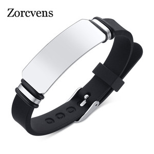 ZORCVENS 2020 New Casual Personalize Engrave Silicone Bracelets for Men Women Stainless Steel ID Tag Custom Sports Gifts Jewelry