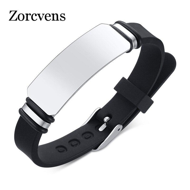 ZORCVENS 2020 Новые повседневные персонализированные Выгравированные силиконовые браслеты для мужчин и женщин из нержавеющей стали ID Tag пользовательские спортивные подарки ювелирные изделия|Индивидуальные Браслеты| | АлиЭкспресс