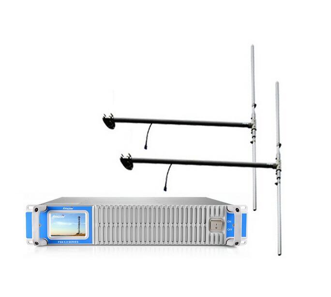 FMUSER 300W 350w FM հաղորդիչ ՝ 2bay DP100 երկպոլի ալեհավաքով և 30 մետր մալուխով