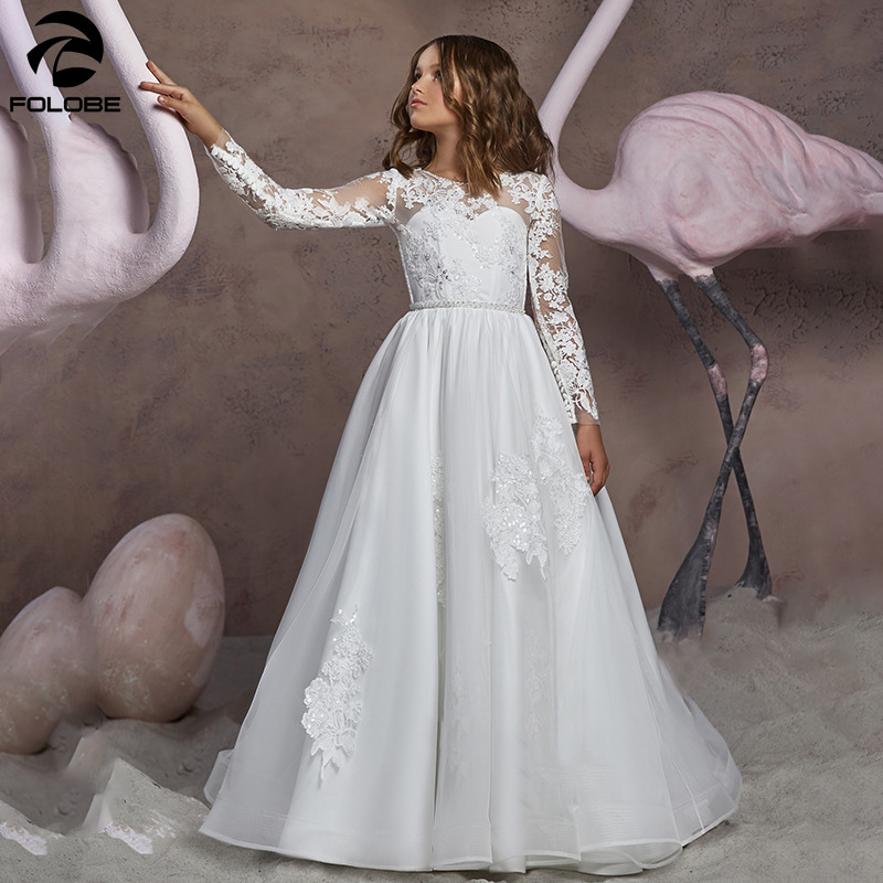 2020 New White A Line Lace Appliques Flower Girl Dresses Long Sleeve Buttons Back Floor Length First Communion Party Dress