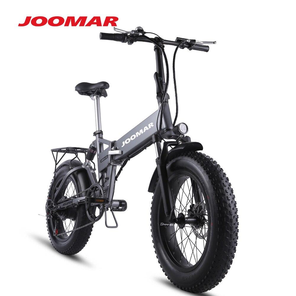 JOOMAR Электрический велосипед 500W горный велосипед складной, фара для электровелосипеда в 4,0 с толстыми покрышками 20 дюймов снегоходе пляжные ...