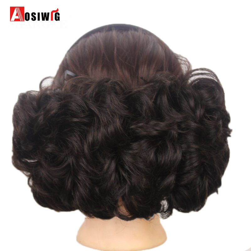 AOSIWIG Short Curly Chignons Hair Tail Synthetic Fake Hairpieces Clip In Hair Extensions Women Hairstyles
