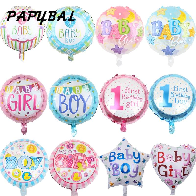 10 pçs 18 polegada balões de chuveiro do bebê menino & menina estrelas coração folha redonda balão de hélio 1 ano aniversário decoração crianças brinquedos