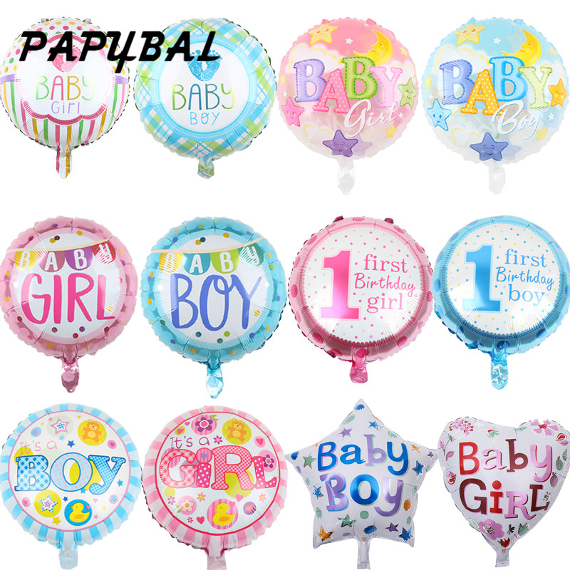10 шт 18inch детского дня рождения воздушные шары для маленьких мальчиков и девочек со звездами сердце круглый фольги воздушный шар с гелием на ...