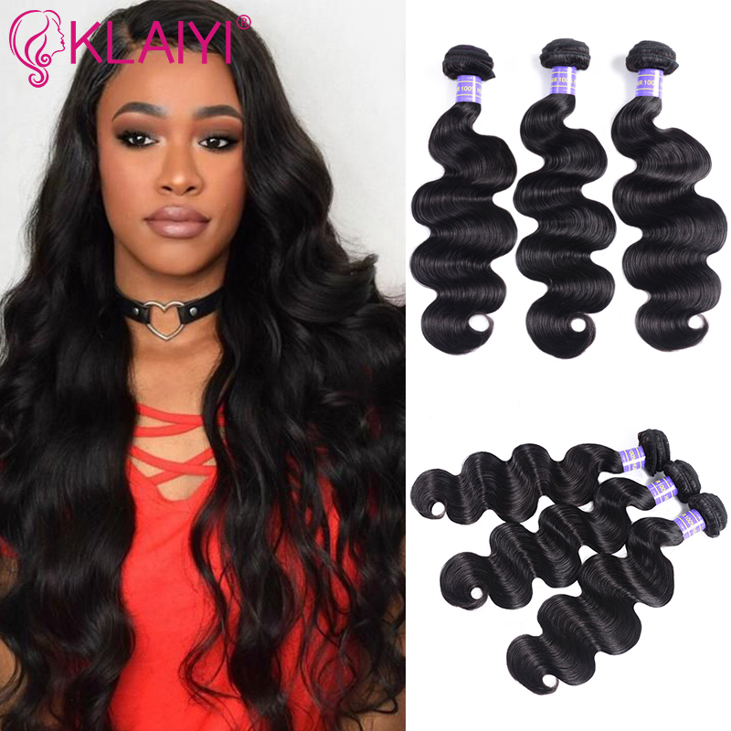 Klaiyi Weave Human-Hair-Extension Remy-Hair Body-Wave 3-Bundles Natural-Black-Color Can-Be-Dyed title=