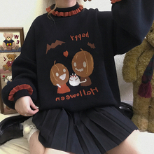 Sweater Pumpkin Student-Tops Japanese Harajuku Halloween Girl's Cute Mori Loose-Lantern-Sleeve