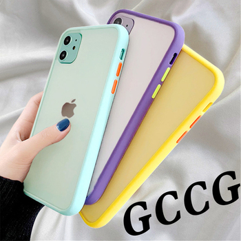 Mint Simple Matte Bumper Phone Case for iphone 11 Pro XR X XS Max 12 6S 6 8 7 Plus Shockproof Soft TPU Silicone Clear Case Cover image