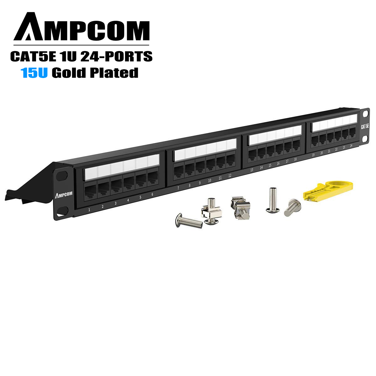 AMPCOM Premium Series CAT5/5e 24 Ports Patch Panel, Rack Mount - 1U, 19 Inch, RJ45 Ethernet 568A 568B, 15u Gold Plated