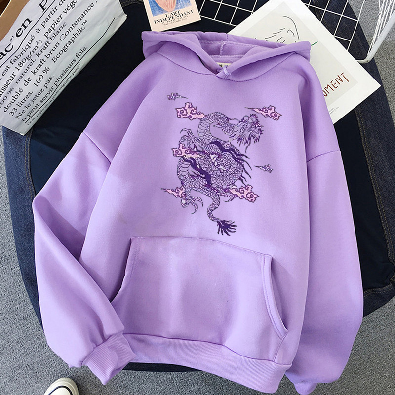Dragon Print sweatshirt Women hoodie Cute Hip hop Kawaii Harajuku Oversized kawaii womens tops clothes 1
