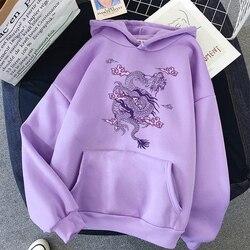 Impressão de dragão moletom com capuz feminino bonito hip hop kawaii harajuku oversized kawaii das mulheres topos roupas