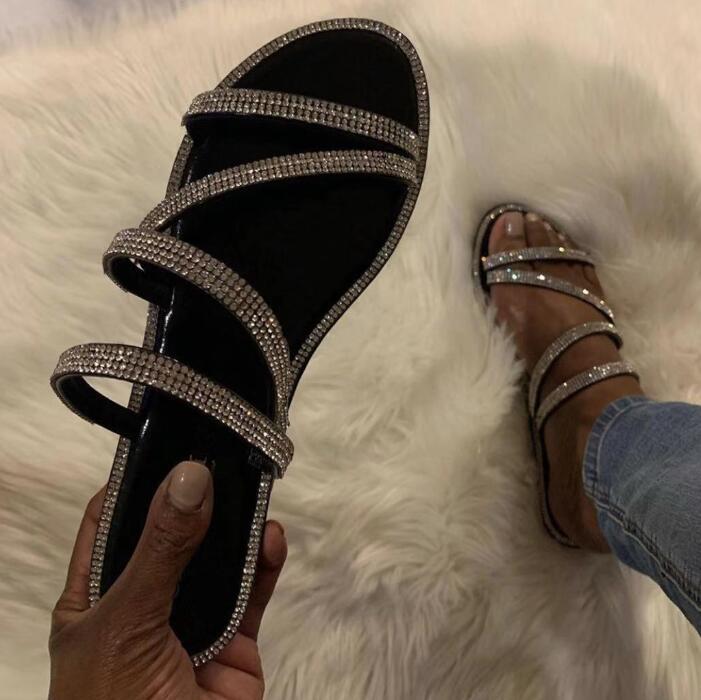 Wholesale New Bright Diamonds Women's Platform Summer Sandals/ Flip Flop Outdoor Fashion Rhinestones Buckle Lazy Slippers