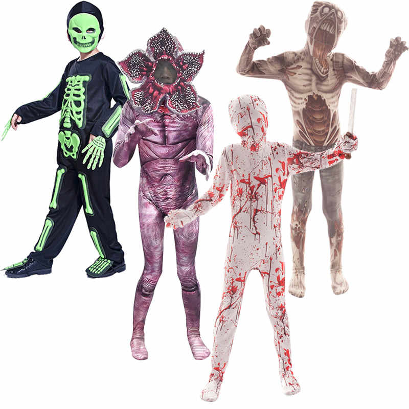Kinder Halloween Kostüme Jungen Mädchen Zombie Cosplay Cannibal Blume Make-Up-Party Idee 2019 Horror Nacht Werwolf Mutant Onesies