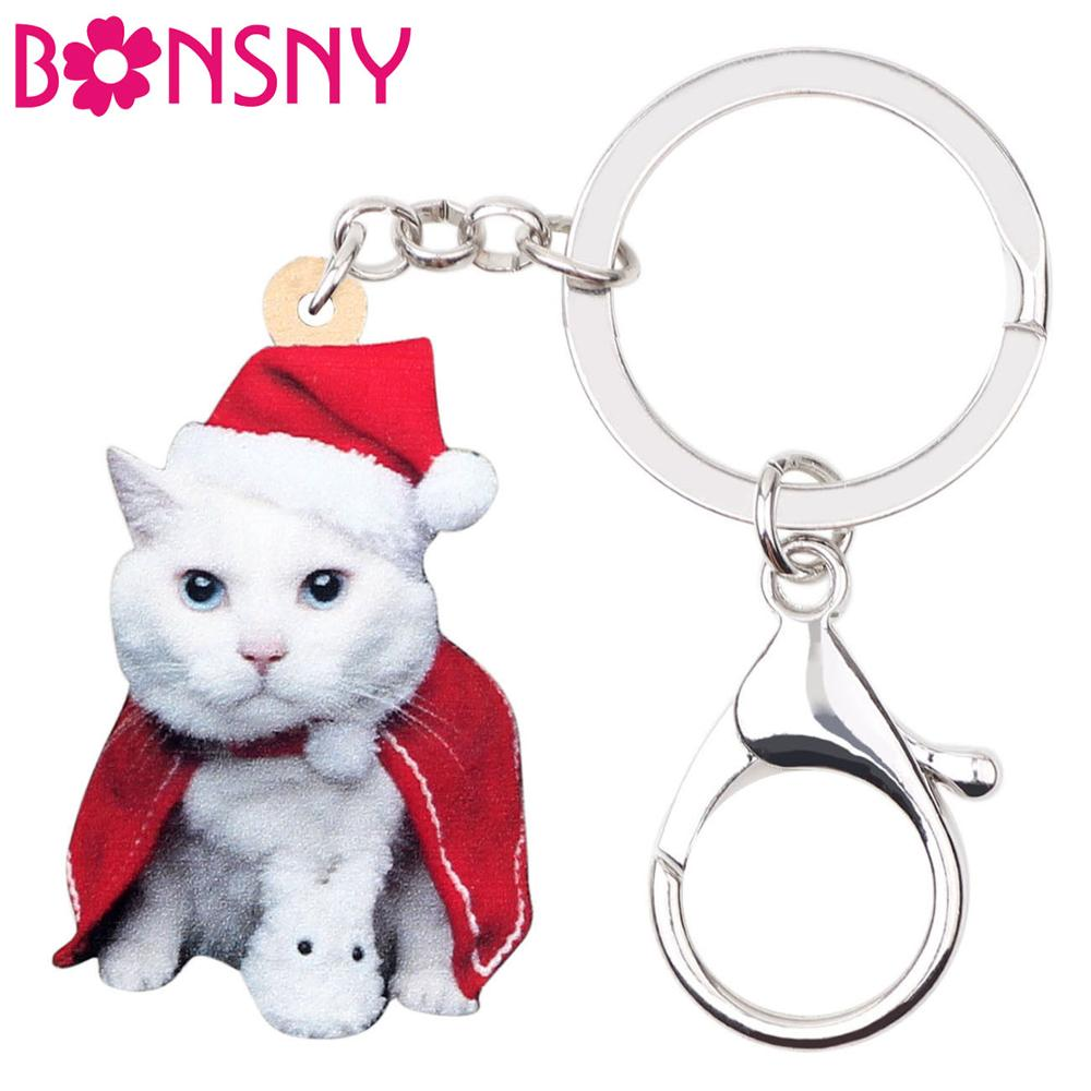 Bonsny Acrylic Christmas Cloak Kitten Cat Key Chains Bag Car Wallet Key Rings Pet Jewelry For Girls Lady Gift 2019 New Accessory