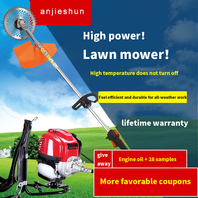 Tools : Anjieshun mower four-stroke backpack type small brush cutter multifunctional agricultural gasoline wasteland weeder harvester