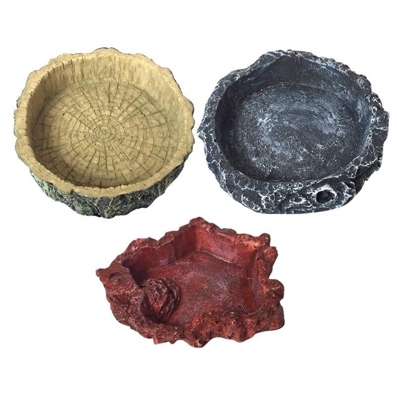 Pet Reptile Feeder Bowl Basin Resin Non-Toxic Food Water Pot Turtle Tortoise Scorpion Lizard Crabs For Pets Feeding Tray