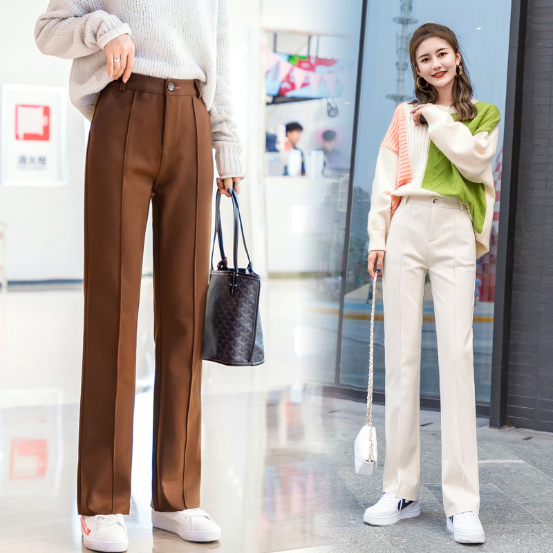 Women Wool   Wide     Leg     Pant   New Fashion Thick Warm Elastic Waist Woolen   Pant   Casual Trouser Pantalon Office Lady 2019 Autumn Winter