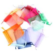 50 pçs transparente organza sacos de presente natal dia das bruxas caixa de presente embalagem sacos de presente caixa de doces de casamento sacos de chocolate