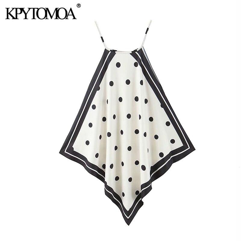 KPYTOMOA Women 2020 Fashion Polka Dot Asymmetric Halter Blouses Vintage Sleeveless Side Vents Straps Female Shirts Chic Tops