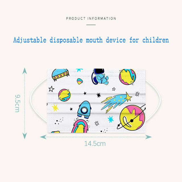 50pcmask Children Kids 3-8 Years Old Mouth Mask Disposable Print Face Mask 3ply Ear Loop Mouth Cover Face Shiled Mask Mascara #z 5