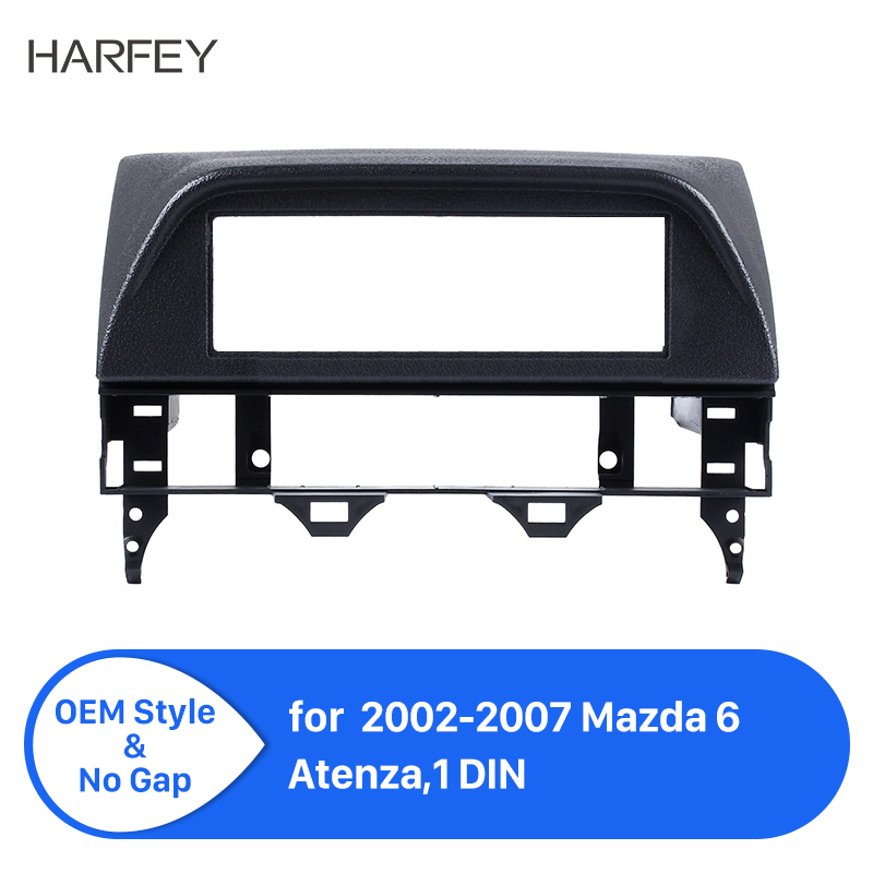 Harfey 1 DIN Auto Radio Fascia for 2002-2007 Mazda 6 Atenza Car Audio Stereo Dashboard Surrounded Install Trim Panel Kit Plate image