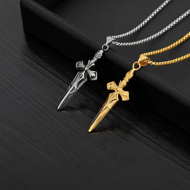 Gold Sword Pendant Necklace For Men Cross Chain Long Choker Stainless Steel Necklaces Jewelry Gift Collares Largos Mujer 2019