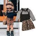 2019 комплект одежды для маленьких девочек; одежда для малышей; Кружевная футболка для девочек; топы с леопардовым принтом; юбка; платье; осенн...