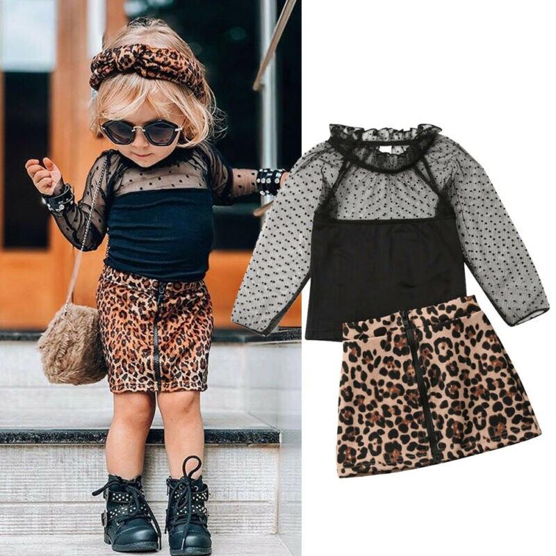 2019 幼児の女の子の服セットキッズ幼児服レース Tシャツはヒョウ柄スカートドレス秋衣装セット