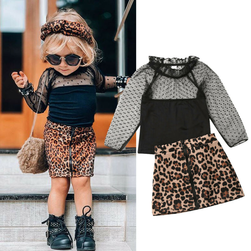 2019 conjunto de ropa para niñas pequeñas, ropa para bebés y niños pequeños, camisetas de encaje, faldas con estampado de leopardo, vestido de otoño, conjunto de ropa